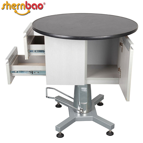 High quantity round hydraulic grooming table with cabinet