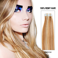 2015 Hot Sale Highlight Color P27/613# Luxy Indian Skin Weft Tape Remy Hair Extensions,Tape In Hair Extentions