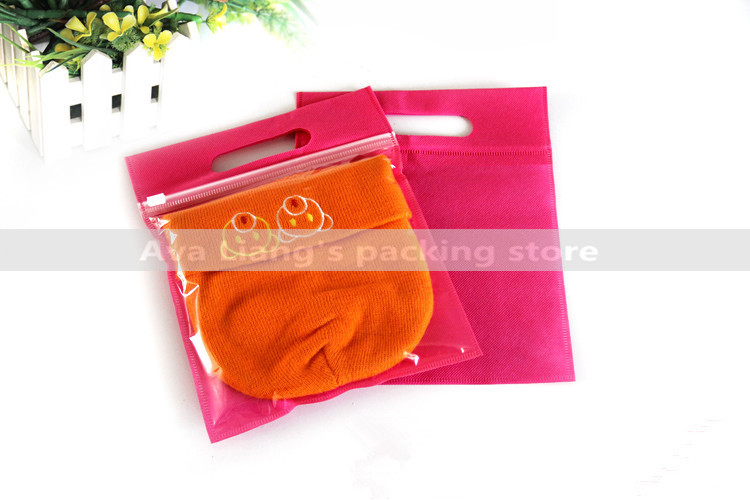 20pcs/lots 20x19+5cm pink color  Zip Lock For Clothes Self Sealing Packaging bag/ half clear half non-woven bag with handle