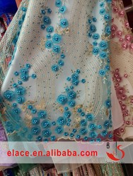 Swiss Venice blue floral beads and rhinestone embroidered lace fabric for special accasion dress making evening party dress