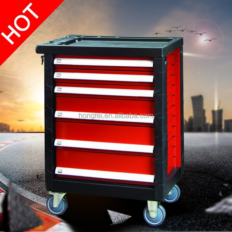 27'' 6 drawer flexibility with wheels stainless steel tool cabinet