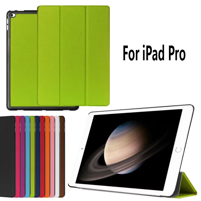 Mix color three floding folio stand leather case cover for apple ipad mini 4