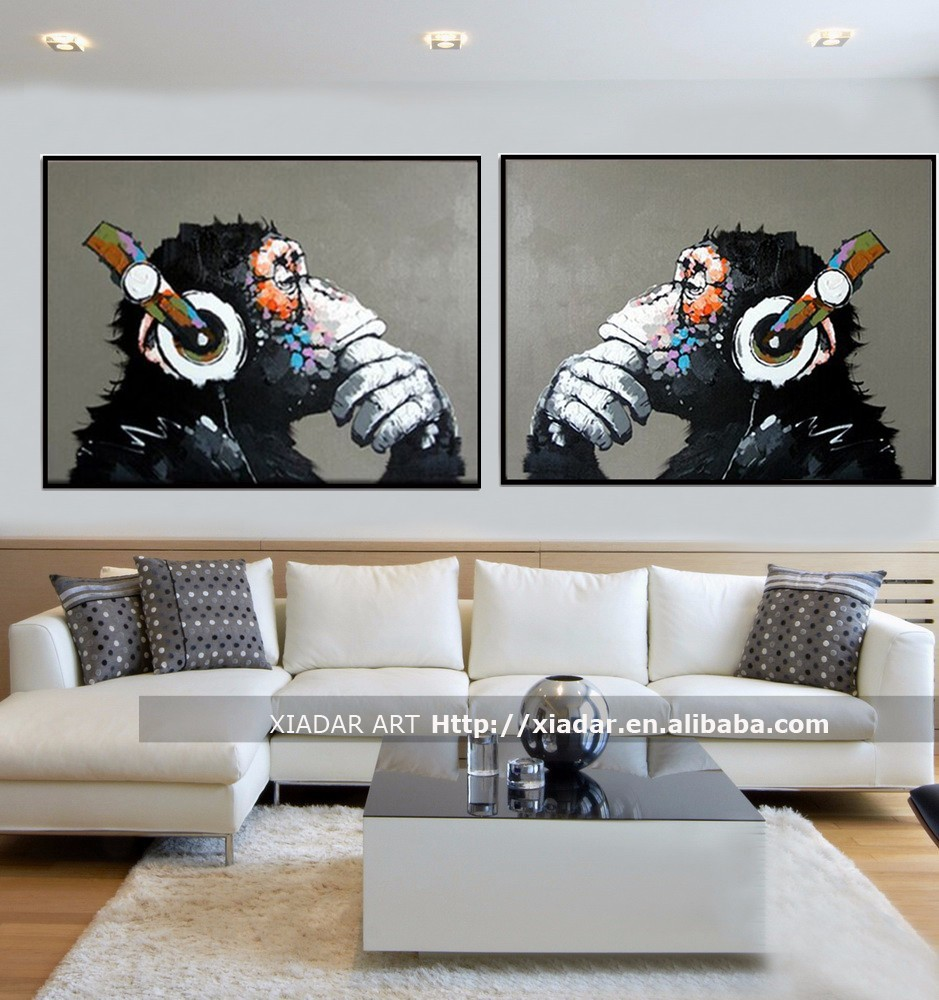 Canvas monkey oil painting for living room wall decorative/cartoon oil painting on canvas