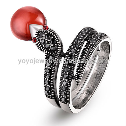 Gorgeous high quality sex anal ring elegant crystal rings vners black snake design ring