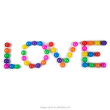 China OEM factory Orange, Pink, Red, Green,Blue Colorful Plastic Sea Play Bobo party love heart Balls