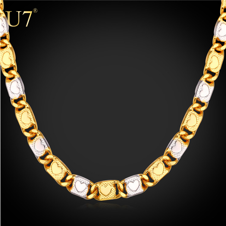U7 2016 Two Tone Gold Plated Chain Necklace With Heart Pattern Link Chain Necklace Men Jewelry
