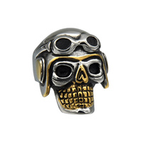 Wholesale Fashion Vintage Titanium Steel Jewelry Skull Rings Male Punk Pilot Personality Finger Rings for Men