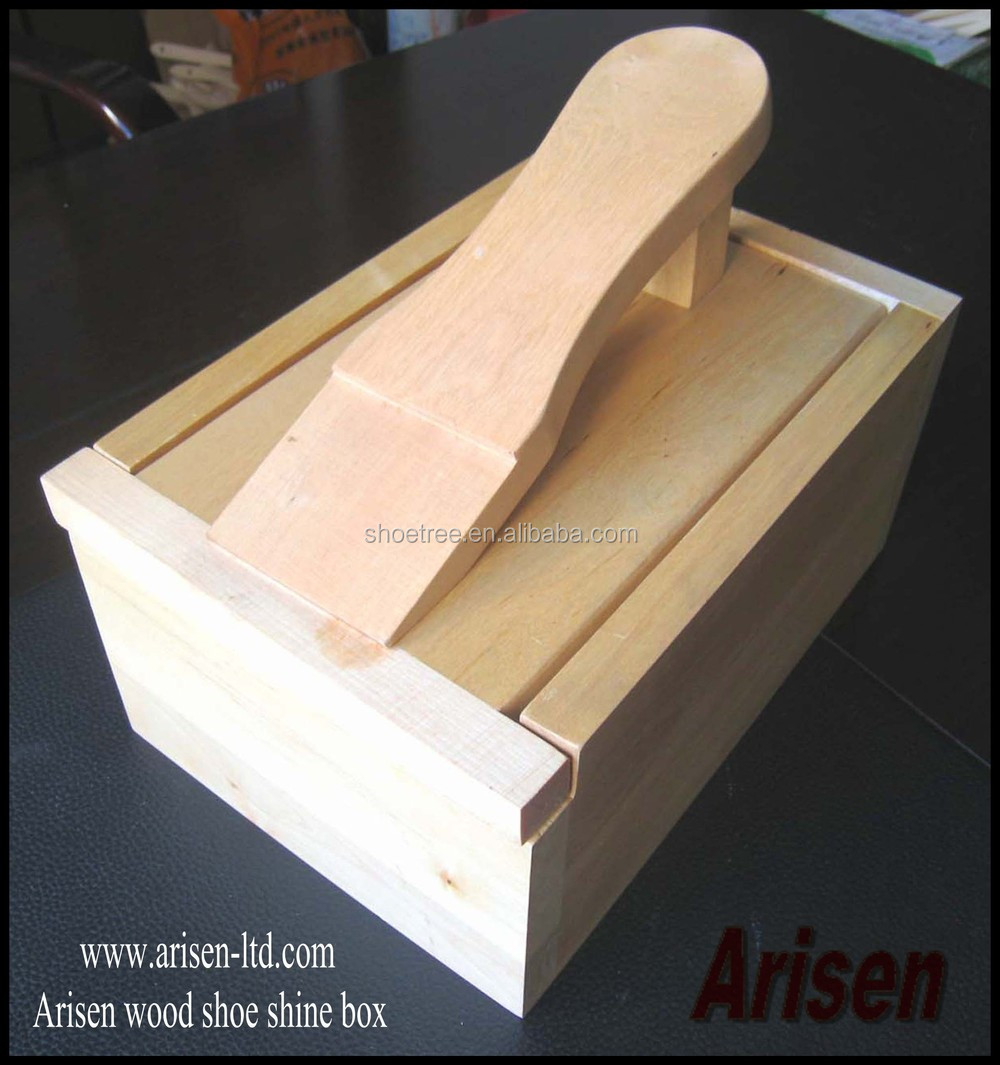wooden shoe care box
