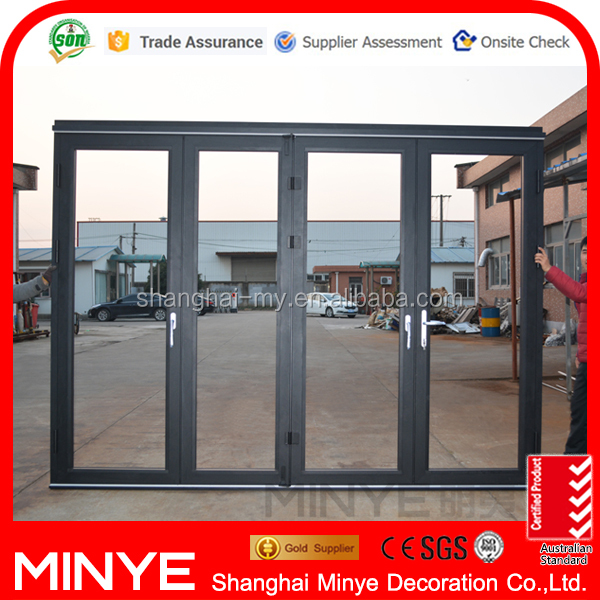 Tempered safety glass aluminum alloy profile main enry door for shop