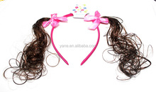 Pretty kids hair accessories wholesale pink ribbon bows funny headbands