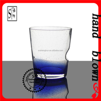 wholesale handmade 340ml minute bubbles color crystal whiskey glass with OEM decal logo ZWG0141-0142