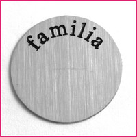 "316L Stainless Steel ""familia"" Floating Charms Locket Round Plate Window Plates for 30mm Lockets"