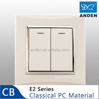 PC Material White Color 2 Gang 1 Way Electric Wall Switch