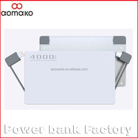 50pcs/Lot by UPS to USA , dual cable power bank mobile phone charger 4000mah polymer metal power bank