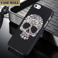 2015 Hot Selling Skeleton Image cool black skull plastic PC case for iphone 5 5s