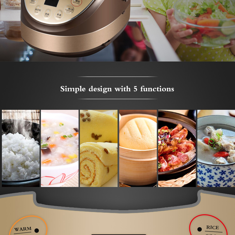 5L oval shape electric multi cooker with stainless steel housing