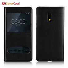 Mobile Phone Accessory Window Case PU Leather Wallet Flip Cover Dot View Case For Nokia 6 Cover