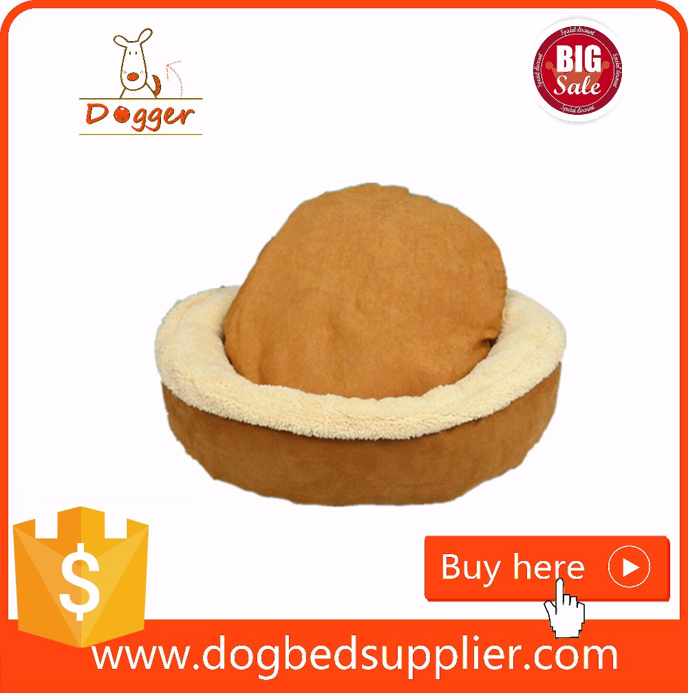 Wholesale Warm plush Suede Dog Bed with Removable cushion Washable Cover for Winter