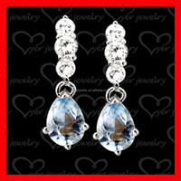 Fashion jewelry new style silver crystal drop earrings manufacturer