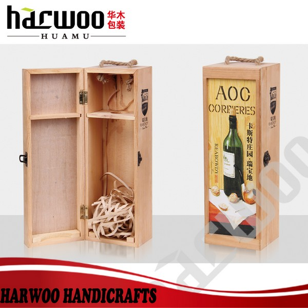 Solid wood custom wooden wine gift box