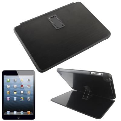 Metal Brushed Paste Flip Plastic Case with 4-angle Viewing Adjustment Holder for iPad mini