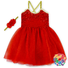Plain Red Baby Girl Wedding Dress With Matched Headband Fashion Modern Girls Dresses Fit 0-6 Years Old