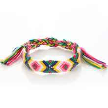 Mexican Macrame Cotton Cord Friendship Wrist Band Bracelet,OEM Pattern Braided Woven Bracelet for Promotional Gift