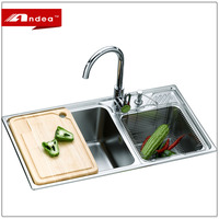 Widely used stainless steel double bowl kitchen sink with wash board