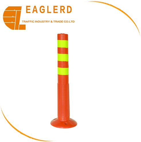 Road safety 75cm PC warning post with reflective tapes