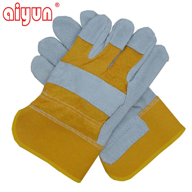Color Safety Gloves,Cow Split Leather Work Glove,Leather cotton Welding Gloves