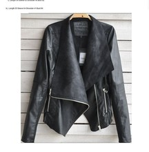 Wholesales Black Women Leather Jacket Coat With Sleeved PW-BHR.9848
