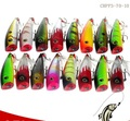 CHPP3-70-10 fishing minnow lure 70mm 10g 3D eyes popper bait Water Cormorant Hard Lure Feather three anchor hook
