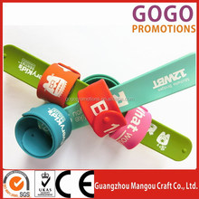 manufacture custom silicone slap & snap bracelet, Customized Logo Promotional Gifts snap silicon wristband snap on wristbands