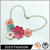 Trendy fashion bead or gold chain necklace jewelry enamel women cheap statement necklace with flower