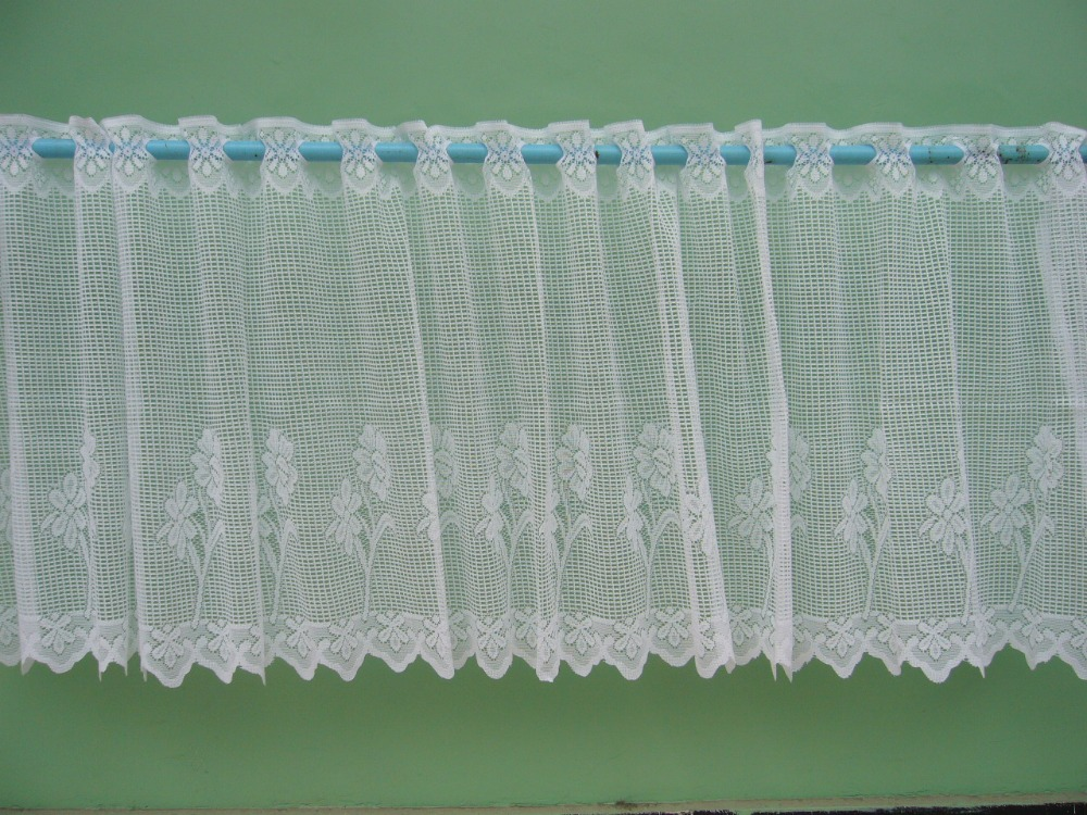 Floral lace cafe curtains for kitchen room sunflower lace curtains window toppers drop 60cm white color