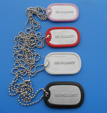 Standard Silicone Round Coated Embossed Custom ID Name Dog Tag - Aluminum Colors - Wholesale
