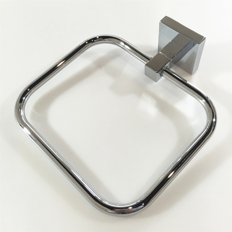 Chrome Polish 6 piece Towel Bar Ring Robe Hook Paper Soap Dish Toothbrush Holder Modern square Bathroom Hardware set