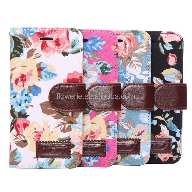 FL2513 Flowers Cloth Design Wallet Style Magnetic Flip Stand TPU PU Leather Case for iPhone 6 Plus 5.5 inch with Card Slot