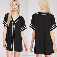 Wholesale Black Baseball Shirts Custom Longline Chiffon Baseball Jersey