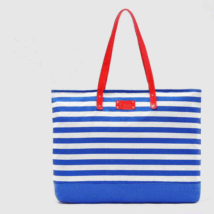Fashionable lady blue white stripes shoulder bag canvas beach tote bag