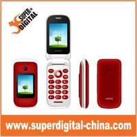 2.4inch double screen 2G &3G gsm flip mobile phone with big keypad buttom/dual LCD screen senior phone