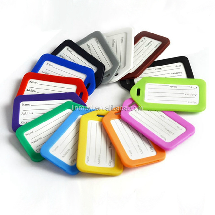 Custom Personalized PVC Plastic Blank Travel Luggage Tag With Luggage Tag Strap