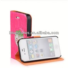 2014 new design for iphone4 pu leather case diamond case for iphone