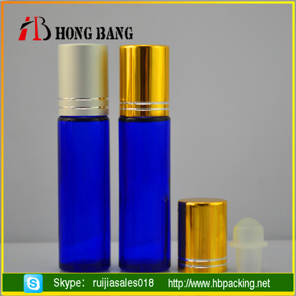 10ml blue cosmetic packaging roll on glass perfume bottle