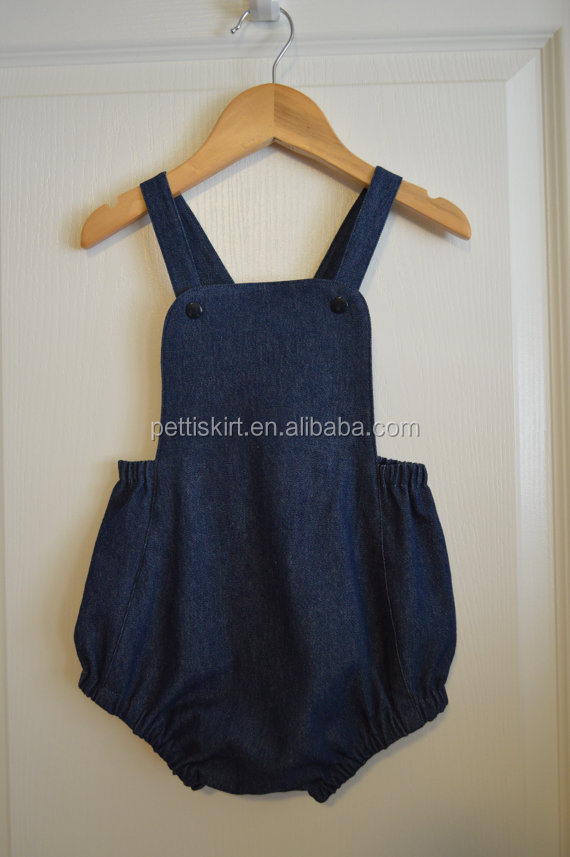 Vintage baby import gift jumpsuit royal blue baby 1 piece fashion sunsuit