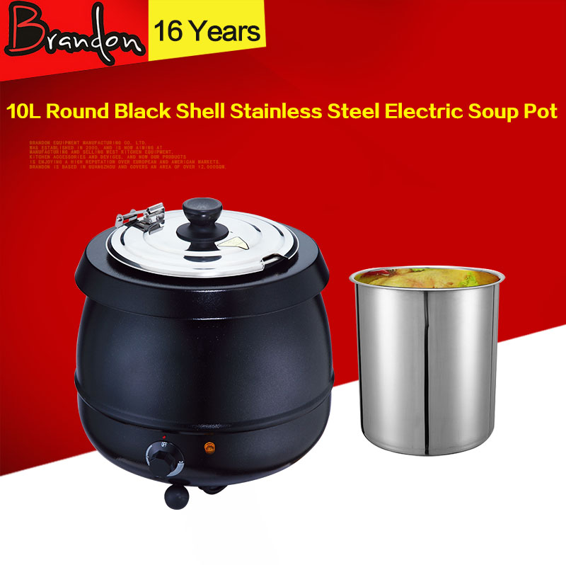 10L Black Stainless Steel Electric Soup Pot / Large Safe Soup Pot / Soup Warmer
