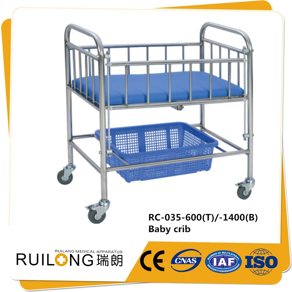 RC-035 high quality hospital stainless steel cheap baby cot bed