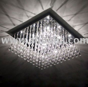 Modern Design Square Crystal Pendant Light Ceiling