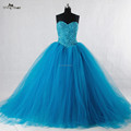 RSW943 Sleeveless Puff Ball Gown Tulle Beaded Turquoise Wedding Dress