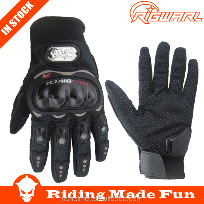 RIGWARL Protective Leather Black Auto Full Finger Motor Bicycle Gloves for Outdoor Sports